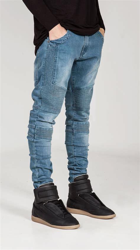 colors black grey blue golden mens biker skinny jeans