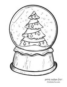 snow globe with a tree coloring page print color