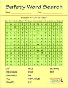 Safety Word Search Puzzles