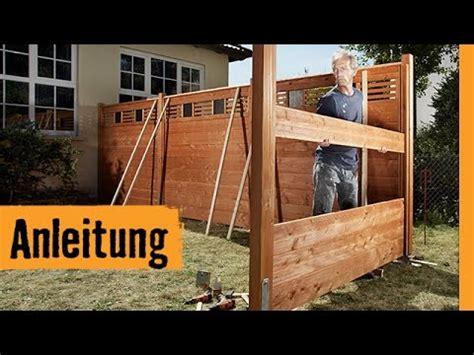 sichtschutz bauen mit zaunsystem hornbach