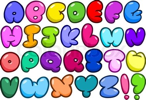 comic bubble shaped alphabet set stock vector colourbox