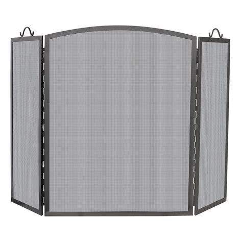 Fireplace Screen Home Depot by Uniflame Polished Brass 4 Panel Fireplace Screen With
