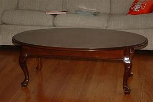 Large cherry glass top coffee table with carved claw feet for Cherry wood glass coffee table