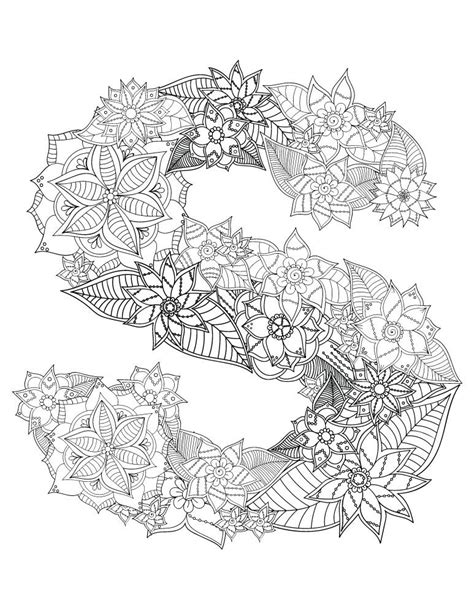 Coloriage ° Floral S | Alphabet coloring pages, New year