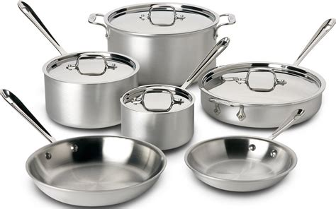 clad stainless cookware chef steel master mc2 piece silver sets ply tri professional kitchen bonded pans pots aluminum safe pfoa