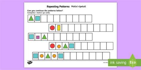 repeating pattern worksheet activity sheets shapes and