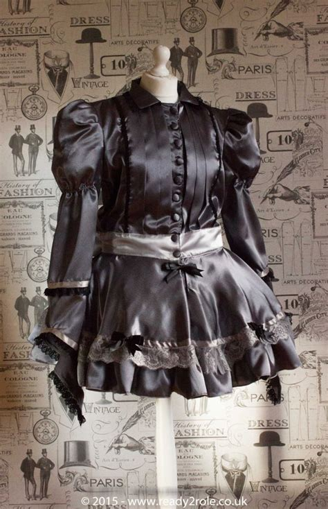 victoria sissy frilly satin long sleeve dress