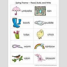 Spring Theme Vocabulary Read, Build, Write Cards  Science And Nature  Spring Words, Spring