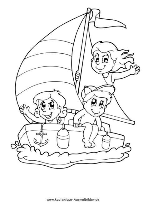 kinder auf dem boot sommer ausmalen malvorlagen