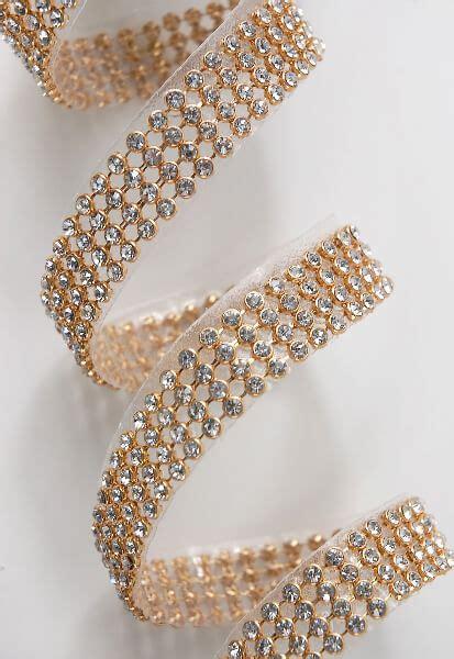 diamond ribbon trim  glass stones gold setting