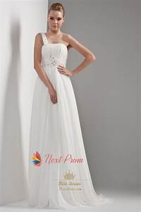 one shoulder chiffon beach wedding dress draped chiffon With chiffon bridesmaid dresses for beach wedding