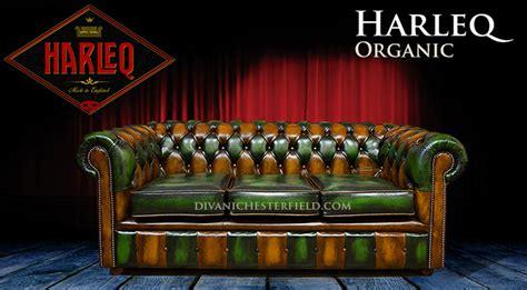 Divano Chesterfield Vintage Patchwork Harleq Verde Marrone