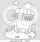 Ice Cream Cart Coloring Outline Clip Illustration Rf Royalty Background Bnp Studio sketch template