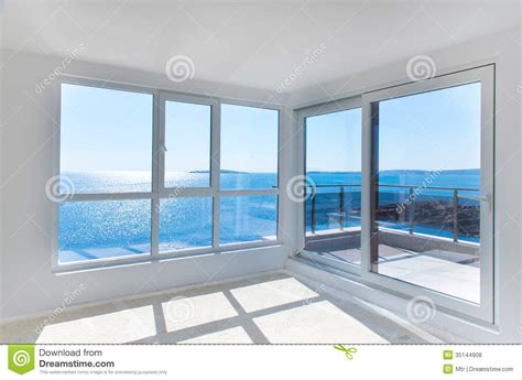 mediterranean home floor plans empty room with sea view royalty free stock photos image