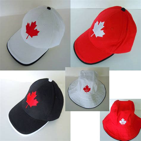 canada embossed country flag hat cap maple leaf bucket hat
