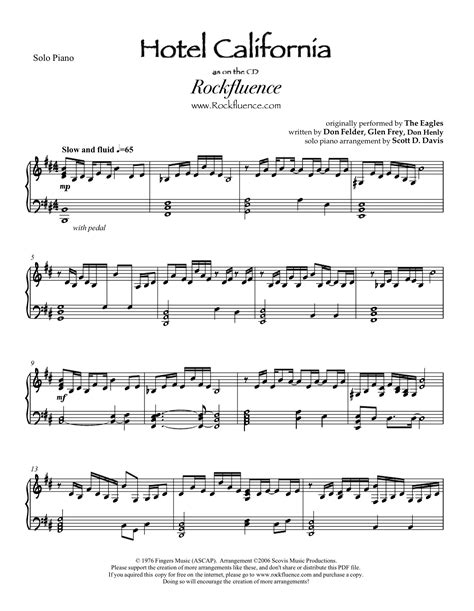 Hotel California Free Piano Sheet Music [2014] No Survey Youtube