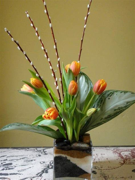willow arrangement tulips tropical leaves pussy willow pussy willow pinterest