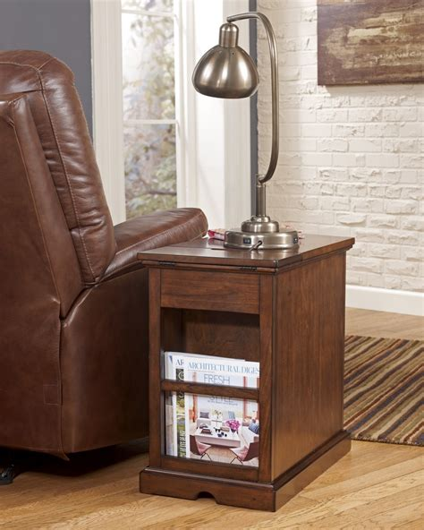 end table with attached l and magazine rack oak wood chairside end table with drawer and magazine rack