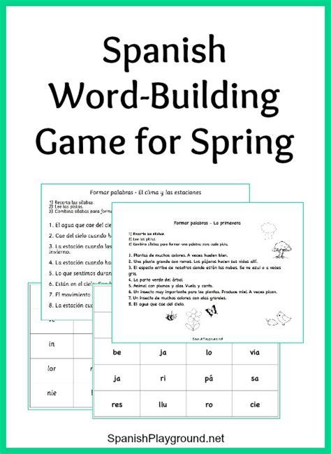 spanish word building game  spring vocabulary