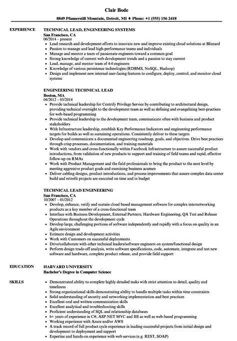 Sle Resume For Technical Lead by Engineering Technical Lead Resume Sles Velvet