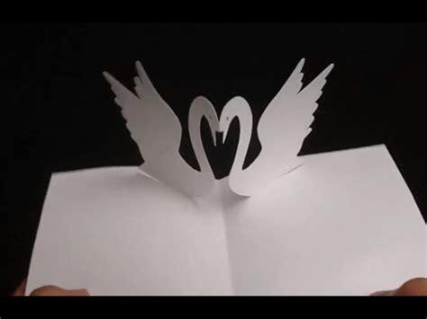kirigami arts  swans valentines day love pop  card