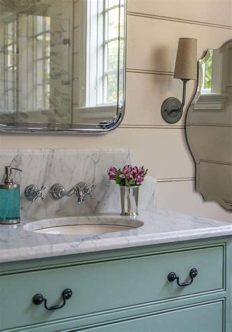 green bath vanity with vintage bronze pulls cottage