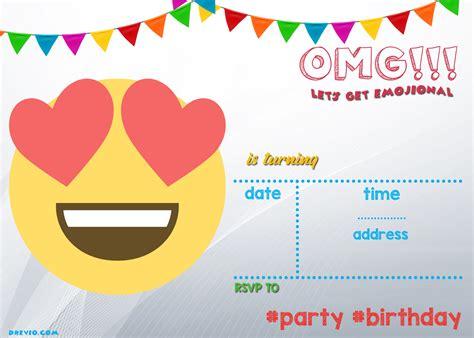 printable emoji invitation template drevio