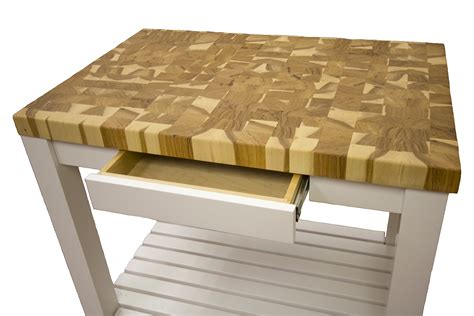 hickory  grain butcher block cart mcclure block