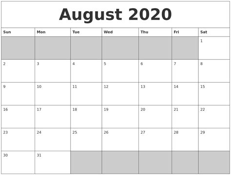 august blank printable calendar