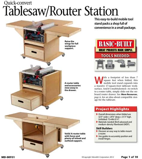 quick convert tablesaw router station woodworking plan