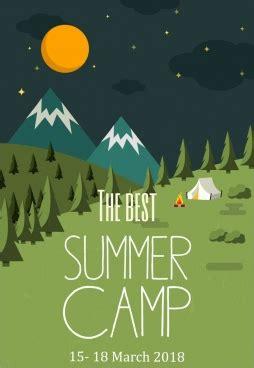 summer camp poster tent moon mountain scene decor