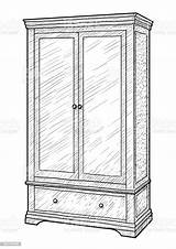 Wardrobe Drawing Line Antique Ink Engraving Cabinet Hungary sketch template