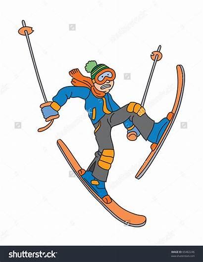 Skiing Cartoon Clipart Illustration Water Vector Activities