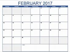 February 2017 Printable Calendar Template, Holidays, Excel