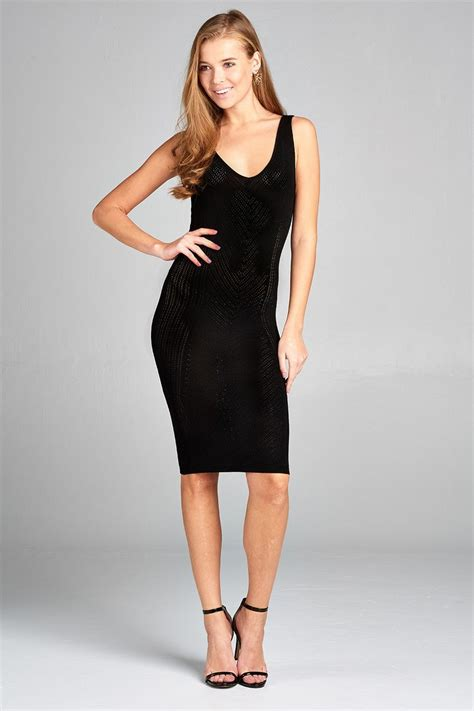 Ladies fashion sleeveless double deep v-neck knit mini ...