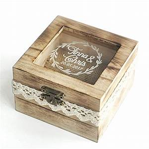 Personalized wooden wedding ring boxrustic wedding ring for Wedding ring holder box