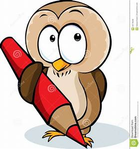 Owl With Pencil Clipart - Clipart Suggest