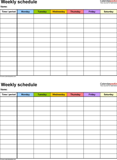 weekly schedule template  word version   schedules