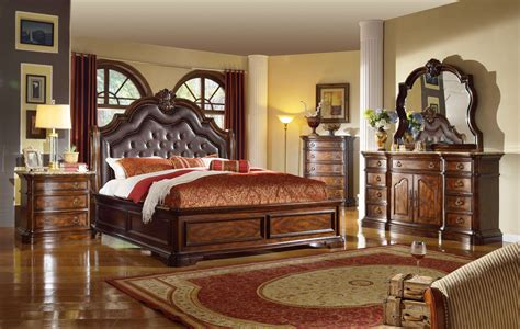 la grande european style burl wood bedroom set upholstered
