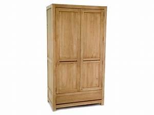 Armoire Bois Massif : armoire 2 portes oscar en bois de ch taignier avec penderie meubles bois massif ~ Teatrodelosmanantiales.com Idées de Décoration