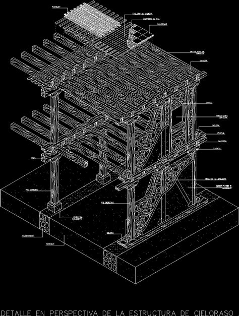 detail wooden structure isometric dwg detail  autocad