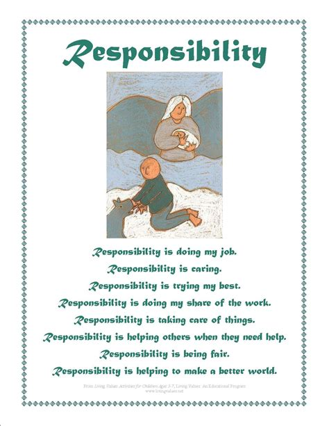 responsibility activity sheets values posters