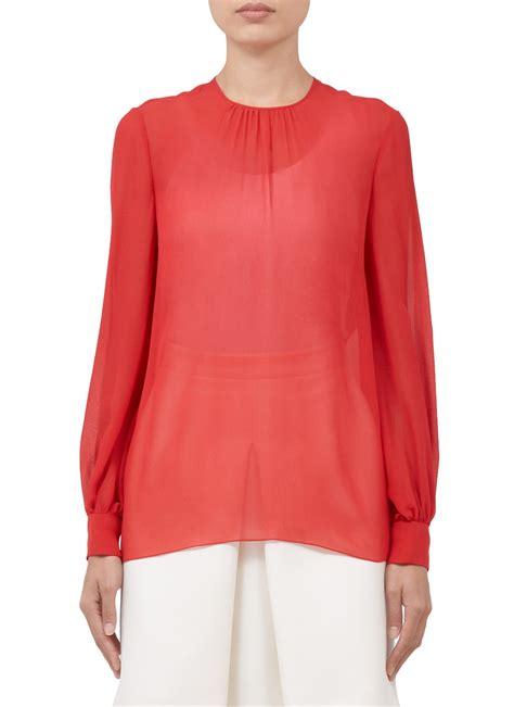 sheer chiffon blouse valentino sheer silk chiffon blouse in lyst