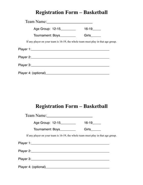 10 basketball registration form sles