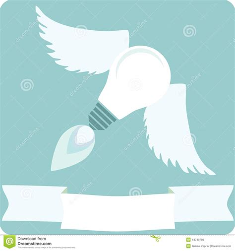light bulb with wings and banner stock vector image