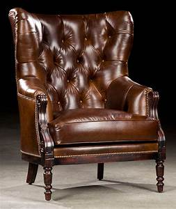 Library, Chair, Leather, Tufted, High, Back, 97