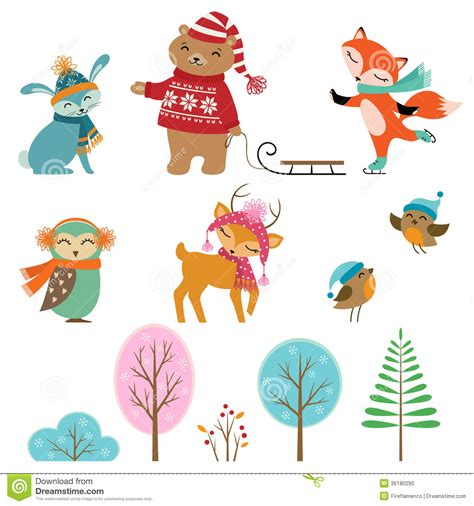 Cute Winter Animals Stock Photo Image