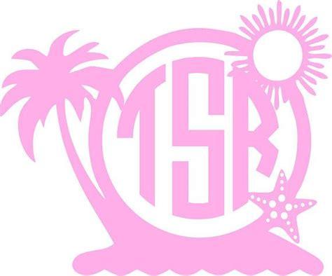 monogram palm tree beach decal personalized  initials beach sticker vinyl car decal yeti