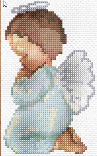 coruja fofa Ángeles en punto cruz Cross stitch baby