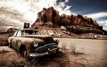 Wallpapers Cars Dusty Classic Desert Landscape Abandoned